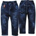 4017 denim macio calças de brim calças de brim menino calças crianças calças azul marinho primavera & outono crianças moda meninos novos 2017 de LAVAR ROUPA NÃO DESBOTAR