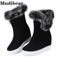 Mudibear مثير السيدات أسافين الأحذية بالجملة 2017 جديد حار الأزياء النساء أحذية الشتاء النساء الأحذية الفراء الدافئة سنو التمهيد عالية كعب