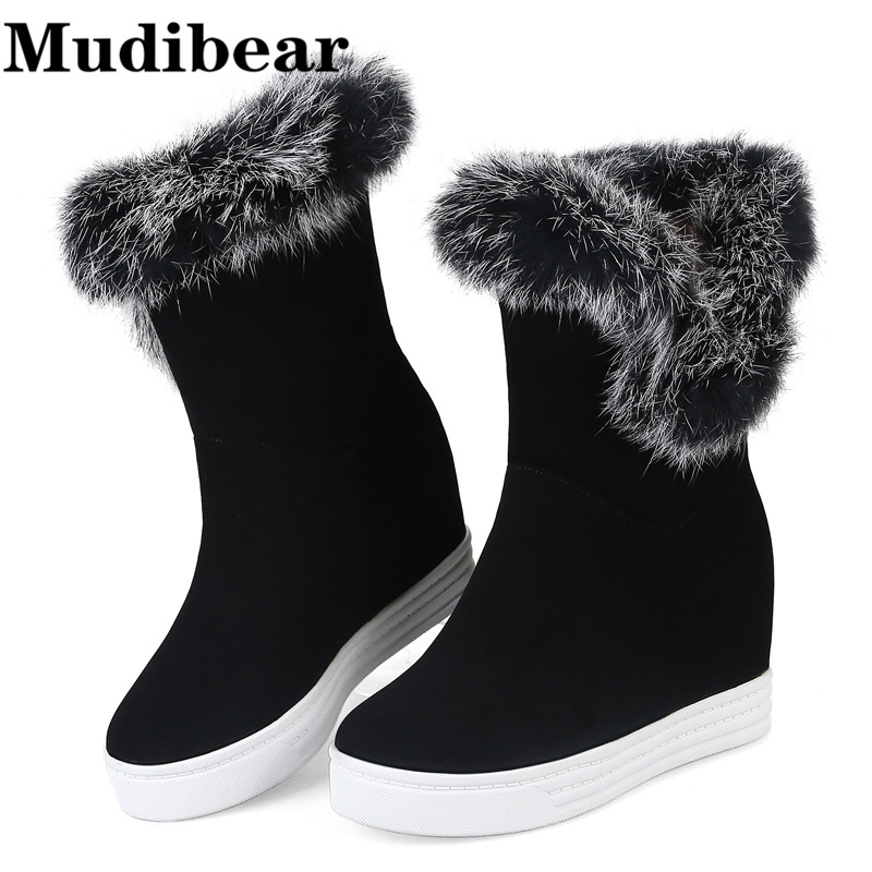 Mudibear Sexy Ladies' Wedges Boots Wholesale 2017 New Hot Fashion Women Boots Winter Women Shoes Fur Warm Snow Boot high Heel