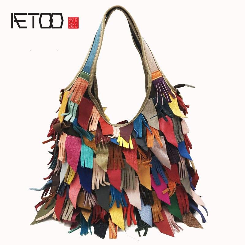 AETOO En Cuir sacs à main Le sac d'épaule simple couleur assorties Européen et Américain femmes sac