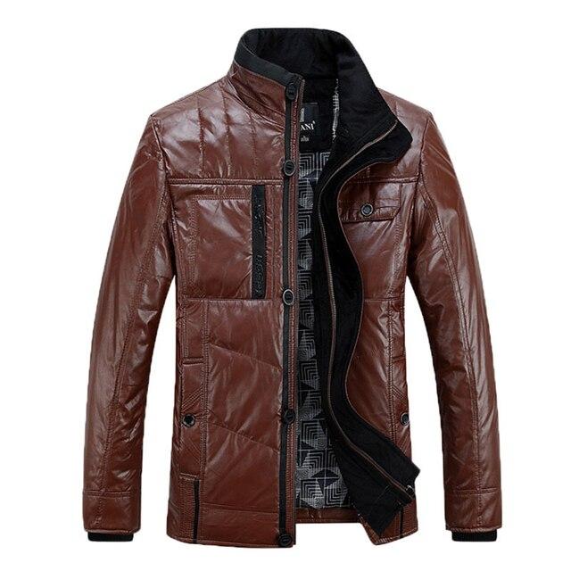 2016 корейских мода человек ветрозащитный кожаная куртка мужская одежда мандарин воротник мужчин свободного покроя пальто jaqueta де couro masculina 128
