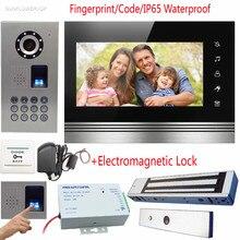 Fingerprint/Code Video Intercom Door Phone Waterproof IP65 Camera Doorbell 7″ Touch Keys Color Screens With Magnetic Door Lock
