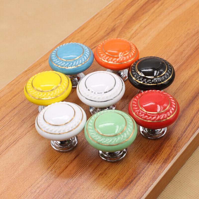 orange/blue/yellow/green/ red/black/whie gold/white silver ceramic kitchen cabinet drawer knob 38mm children room pull knobs 70meter set 6mm spiral wrapping bands white black red yellow blue green grass green each 10meter