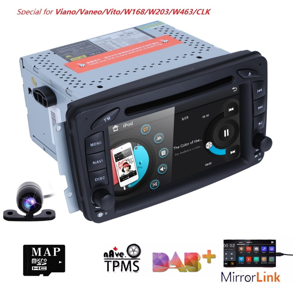 2 Din 7 Inch Car DVD GPS Navigation Radio Player For Mercedes Benz C class W203 W209 Viano W639 VITO W638 MirrorLink DAB+ SWC BT2 Din 7 Inch Car DVD GPS Navigation Radio Player For Mercedes Benz C class W203 W209 Viano W639 VITO W638 MirrorLink DAB+ SWC BT