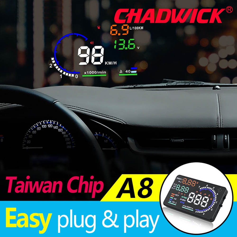 Image 2 - CHADWICK A8 HUD Car Head Up Display LED Windscreen Projector OBD2 Scanner Speed Warning Fuel Consumption Data Diagnostic 5.5inch-in Head-up Display from Automobiles & Motorcycles