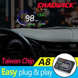 Image 2 - CHADWICK A8 HUD 자동차 헤드 업 디스플레이 LED 윈드 스크린 프로젝터 OBD2 스캐너 속도 경고 연료 소비 데이터 진단 5.5 인치