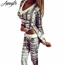 Awaytr Spring Women's Tracksuits 2 Pieces Set Autumn Casual Suits for Women Digital Letters Printing Hoodies Set Black