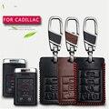 Чехол для автомобильного ключа из натуральной кожи  чехол для Cadillac Escalade ATS CTS XTS  автомобильная эмблема  3 кнопки  чехол для ключей  чехол для с...
