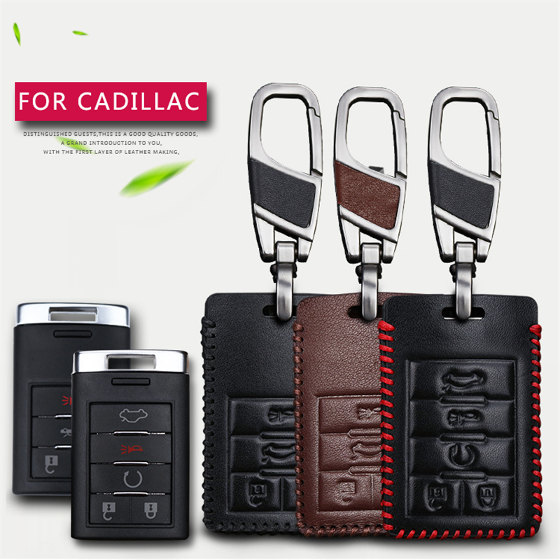 Genuine Leather Car Key Case Cover For Cadillac Escalade ATS CTS XTS Car Emblem 3 Buttons Key Chain Case Smart Key Shell