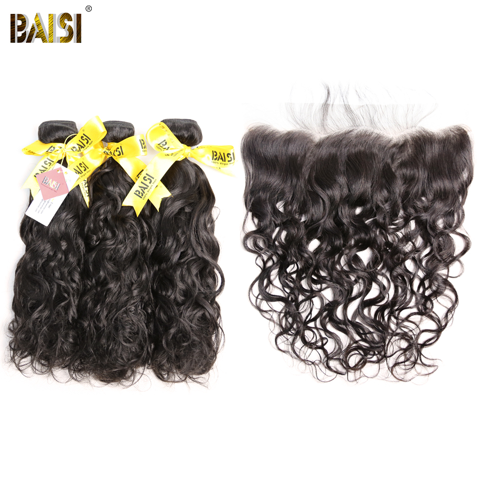 BAISI Hair Indian Virgin Water Wave Hair Unprocessed Hair Weave 3 Bundles with 13x4 Frontal 100