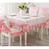 9 Pieces/set Tablecloths with Chair Covers Mats Embroidered Tablecloth Linen For Table Wedding Home Coffee Table Cloth Cover