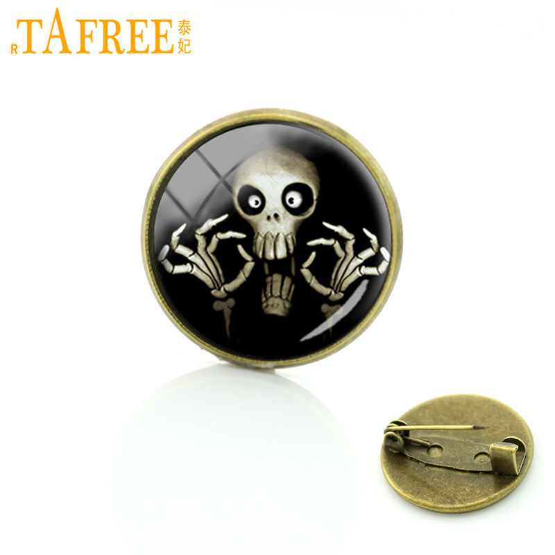 TAFREE New Hot Sale Vintage Punk Skull Brooches Pins Christmas Gift The Nightmare of Halloween for men women badge jewelry C104