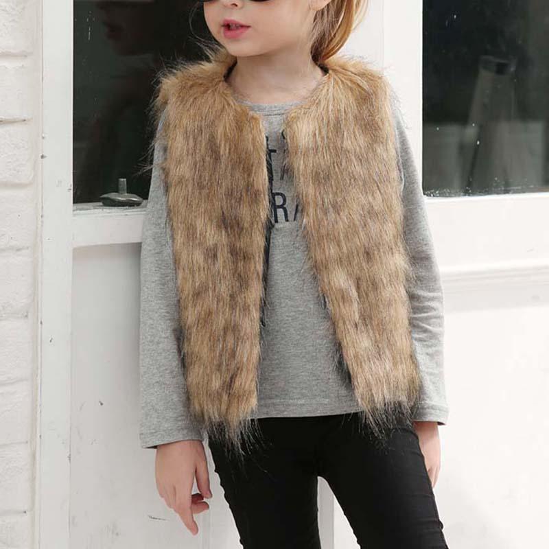Fashion Winter Clothes Children Vest Coat Faux Fur Keep Warm Outerwear Girls Jacket Gilet Waistcoats Plus Size S-3XL 8 S