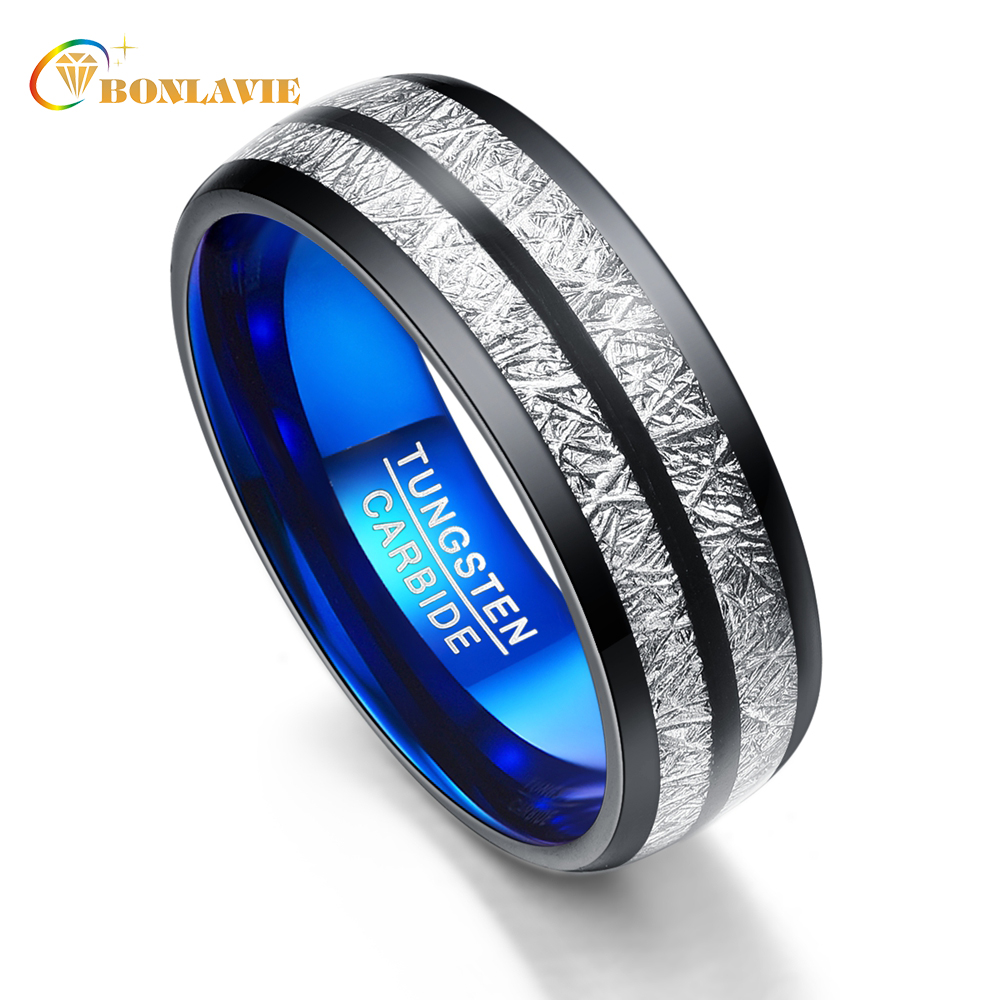 Wedding Band 8mm Width Exquisite Men Women Rings Black Blue Tungsten Carbide Rings Couple Anillos Fashion Jewelry men wedding band cz rings jewelry silver color anillos bague aneis ringen promise couple engagement rings for women