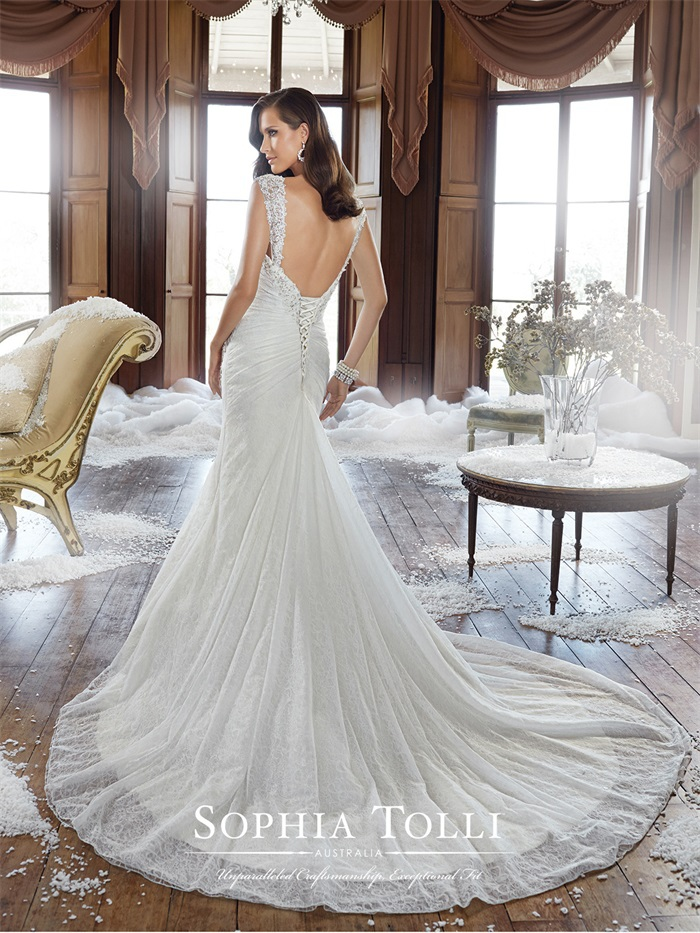 Spaghetti Strap Low-Back Wedding Dress with Bling