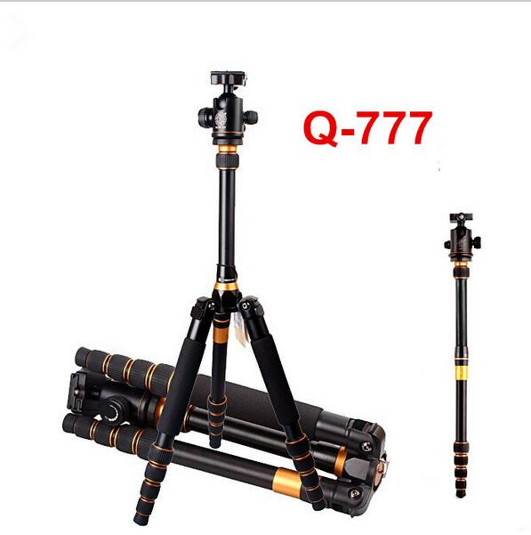 150cm Q777 aluminum alloy tripod monopod  professional photographic camera tripod with ball head for travel free shipping DHL sirui a 1205 a1205 tripod professional carbon fiber flexible monopod for camera with y11 ball head 5 section free shipping