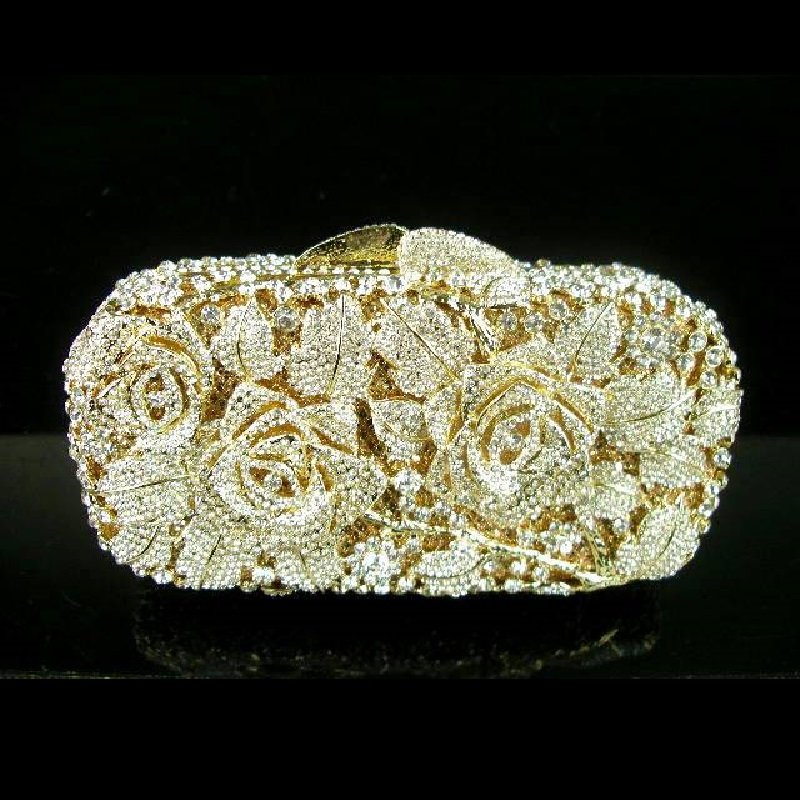ФОТО 8207 Crystal ROSE Flower Floral Bridal Party GOLD hollow Metal Evening purse clutch bag handbag case box