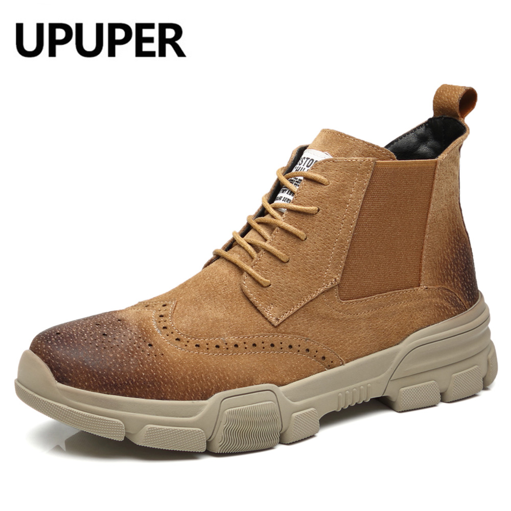 Genuine Leather Ankle Boots Men Plus Size:38-46 Cow Suede Leather Casual Chelsea Military Boots Autumn Winter Shoes Botas Hombre цена 2017