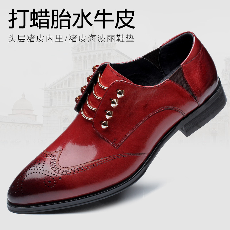 British fashion men wedding party dress breathable genuine leather brogue shoes cutout carved bullock oxfords shoe pointed toe bullock men s oxfords shoes 2016 spring autumn british carved leisure shoes fashion retro pointed toe brogue shoes for men