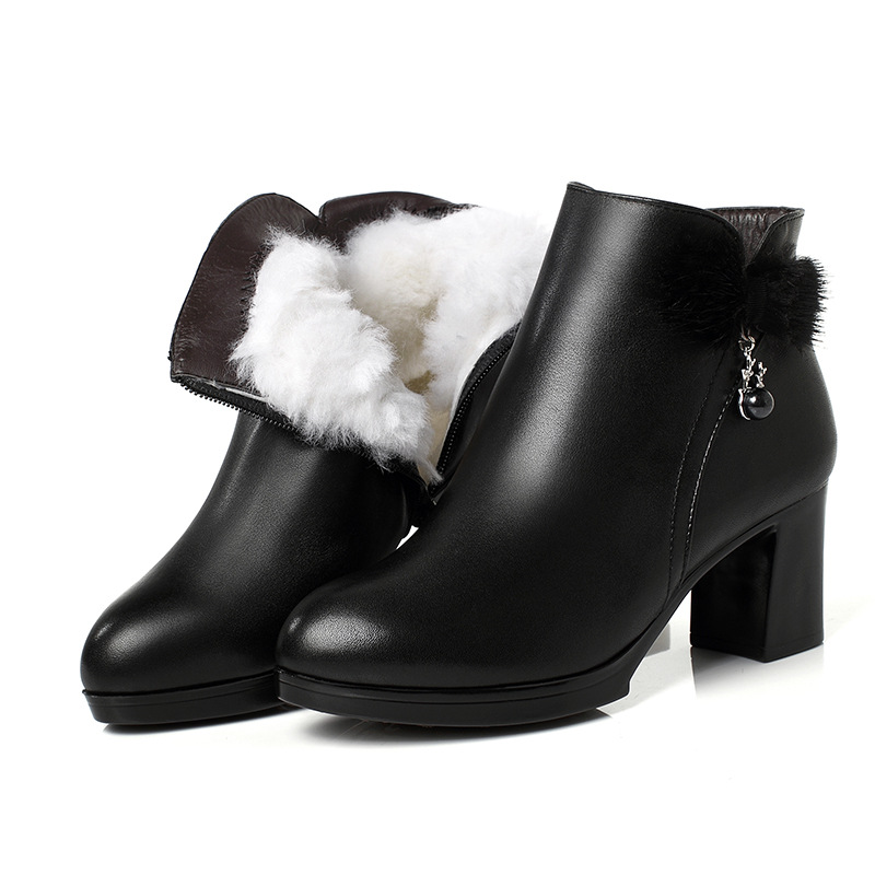 2018 New Rhinestone Rabbit Fur Bow Fashion Boots Warm Velvet and Wool Snow Boots Winter Boots Cowhide High Heels Women Boots