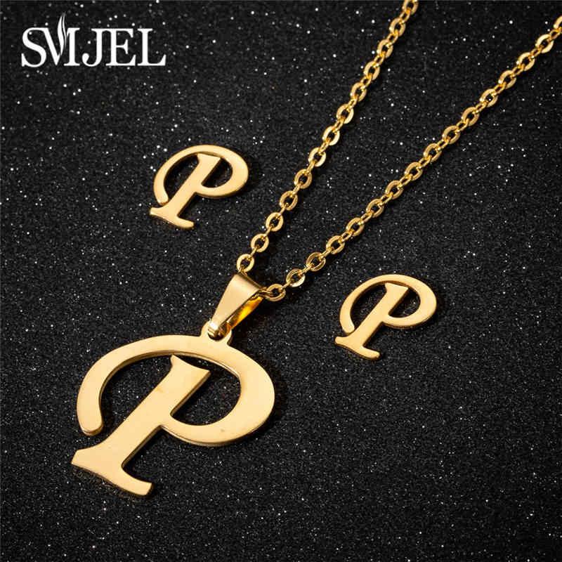 SMJEL dostosowane A-Z list naszyjnik z wisiorkami w kształcie liter złoty łańcuch początkowa Bib naszyjniki Charms dla kobiet biżuteria
