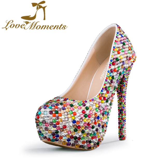 Love Moments Shoes Woman Crystal Glitter Multicolor Wedding Bride Platform High Heels Evening Dress Party