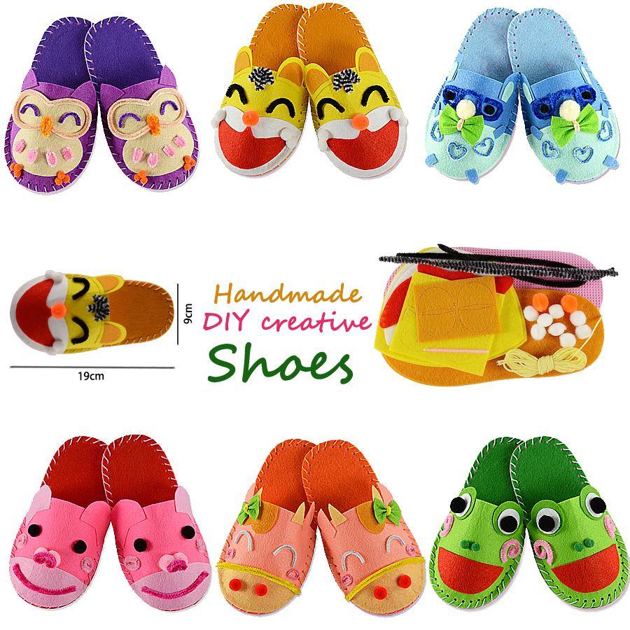Kids Slippers Sewing Kit For Girls Beginners My First Sewing Kit Handmade Non-woven Fabric Shoes Craft Gifts Educational Toys