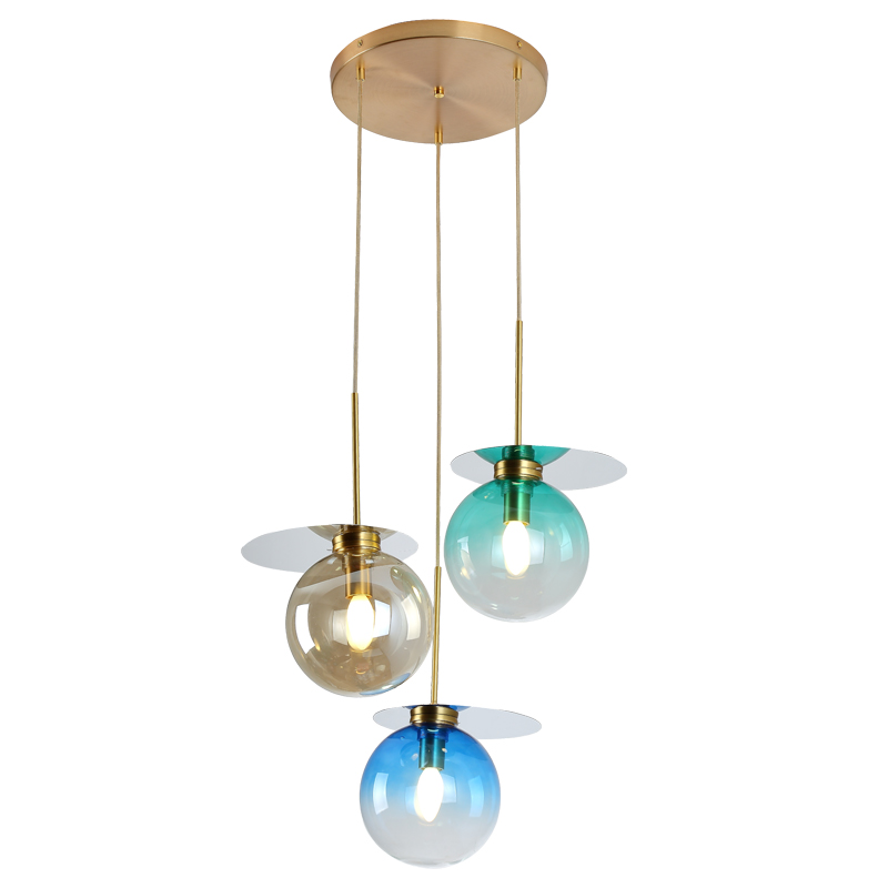 Современный простой 3 лампы стеклянный круглый кулон огни фойе Ресторан Макарон витражи свет Роскошные E14 светодиодный подвесной светильни