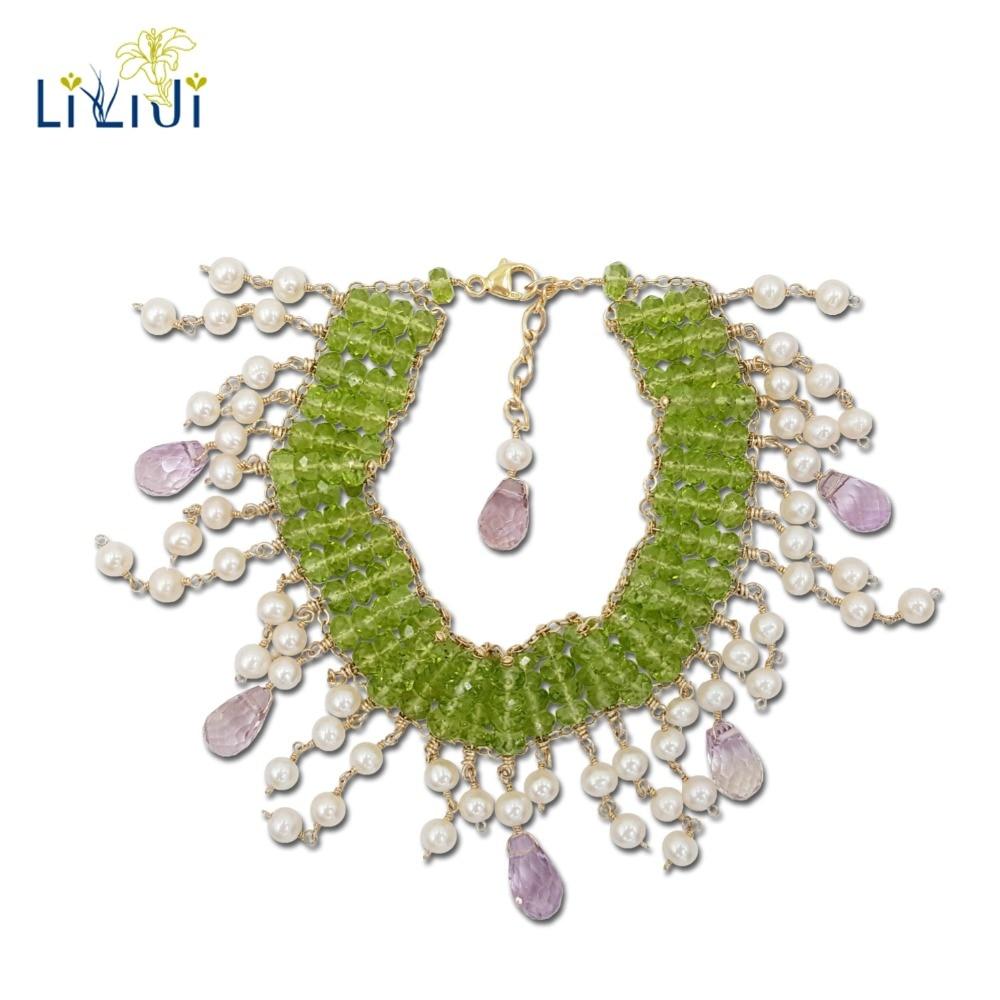 Péridot en pierres précieuses naturelles Lii Ji, améthyste légère, perle 9 K GF Bracelet fantaisie en or jaune