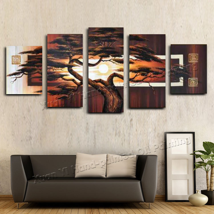 Hand-painted Wall Art Tree Sunshine Red Sun Mountain African Art Wall  Decoration Abstract Landscape