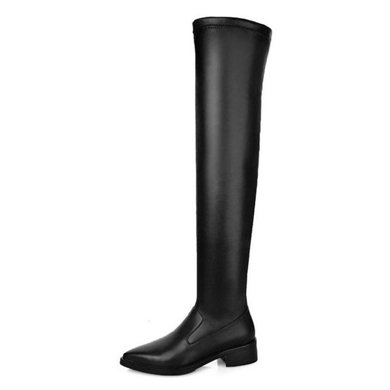 Pour 3343 Lebaluka Pointu Genou Femmes Bout Chaussures Chaud Taille black 1 Cuir Black Sur 2 D'hiver En Stretch Appartements Bottes Sexy Le Véritable Rj54L3Aq