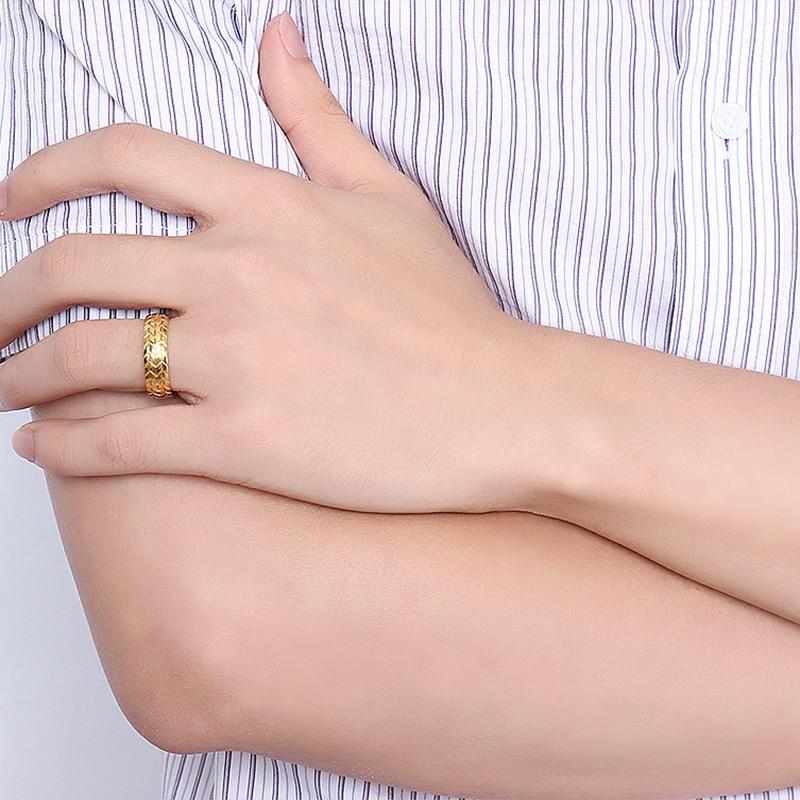 Meaeguet 6mm Manner Klassische Edelstahl Reifen Laufflache Ring Gold