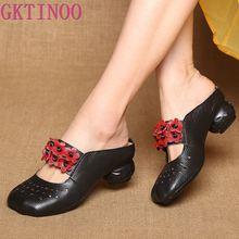 GKTINOO 2020 Summer Folk Style Genuine Leather Female Slippers Women Shoes Original Vintage Soft Bottom Hollow Out Flower Sandal