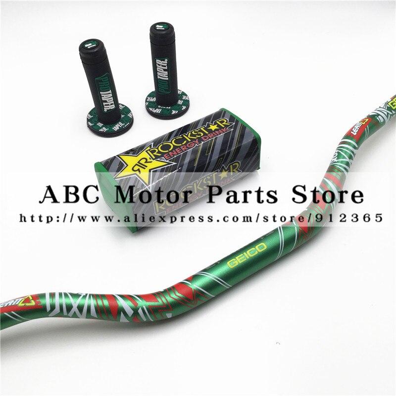 Geico FOX Pack Fat Bar 1-1/8 Rockstar Handlebar Pads PRO Taper Handle Grips Dirt Pit Bike Motorcycle Handlebar Metal Mushisha