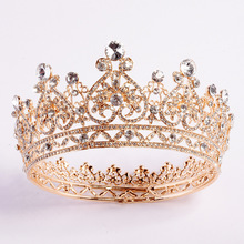 Luxurious sparkling crystal baroque wedding tiara beauty pageant ball crown bridal headdress accessories New design