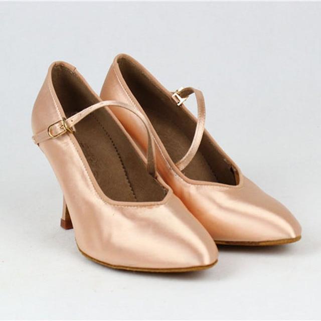 Women Standard Dance Shoes BD 138 ClASSIC Fresh Tan Satin High Low Heel Ladies Ballroom Dance Shoes Soft Outsole Modern Dance 3