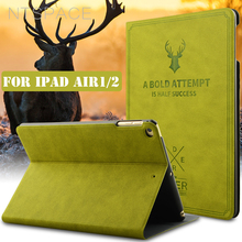 NTSPACE Deer PU Leather Tablet Flip Case For iPad Air 1 Air 2 Smart Wake UP Stand Holder Flip Protective Cover Case For iPad 5 6 цена и фото