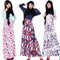 Мусульманского Лоскутное Платье Исламская Женщины Печати Платье С Длинным Малайзия Abayas В Дубае Турецкие Девушки Одежда Мусульманская Абая Одежда