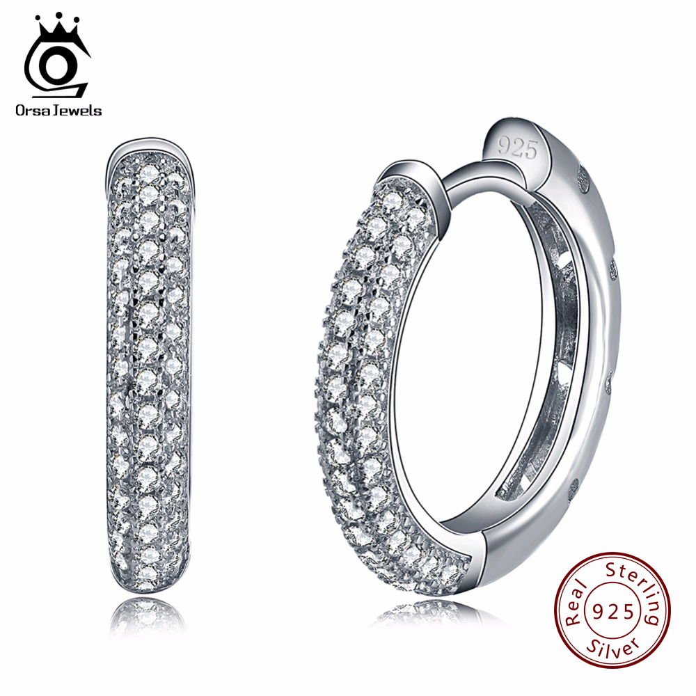 ORSA JEWELS серьги кольцами 2017 трендовые женские ювелирные изделия серебро 925 пробы серьги с 2 рядами 90 шт. австрийский кубический цирконий SE19