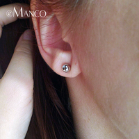 E-manco 2019 New fashion casual 925 silver stud earring for women round design romantic ladies earrings for Party boucles d ore