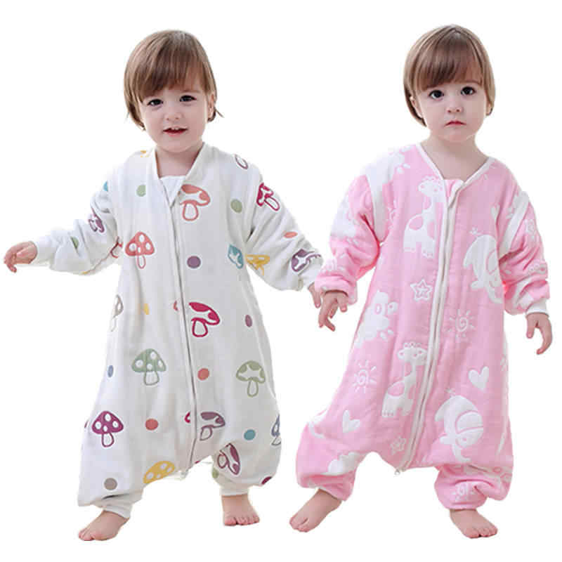 Ấm Cho Bé Ngủ Cotton Chia Chân Pyjama Cho Trẻ Em Trẻ Sơ Sinh Sơ Sinh Sleepsack Tay Dài Túi Ngủ Cho Bé Jumpsuit