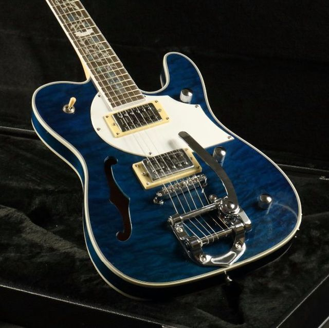 Quilted Maple Top Semi Hollow Body Electric Guitar T-01 Abalone Inlay Bigsby Bridge Blue Tele Free Shipping 5