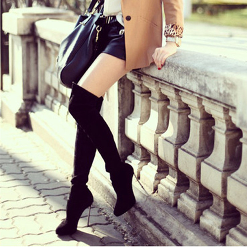 Stretch Leather/Flock Fashion Thigh High Pointed Toe Women Boots Women Thin Heels Over-the-Knee Zapatos Mujer Shoes Casual Boots