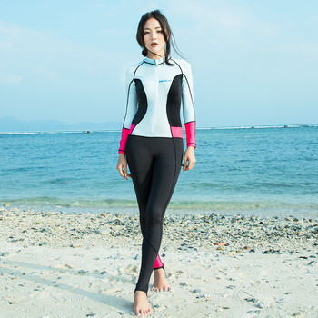Popular Soft Women 0.5mm Neoprene Long Sleeve Diving Wetsuit Spearfishing Suit Swimwear Slim Sky Blue Conjoined Diving Suit Hot