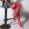 Сексуальная Мокрый Вид Белье Насыщенный Красный и Черный Сетки Клубная Одежда Высокие Бедра Чулки Носки QQNY-0012