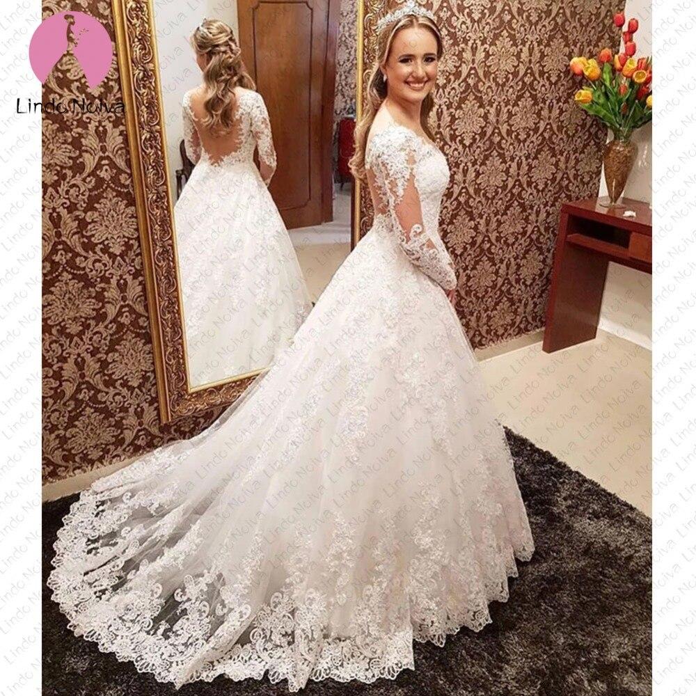 Vestidos De Noiva Ball Gown Lace O Neck Bride Dress Romantic Long Sleeve Wedding Dresses Princess