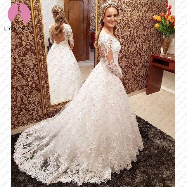 Vestidos De Noiva Ball Gown Lace O Neck Bride Dress Romantic Long Sleeve Wedding Dresses Princess Trouwjurk Robe De Mariee 2019