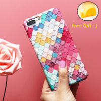 KISSCASE Cute Grid Phone Case for iPhone 5s 7 6 5 6s for APPLE iPhone 7 6 6s Plus Case Sexy 2017 Modern Colorful girl Cover Capa