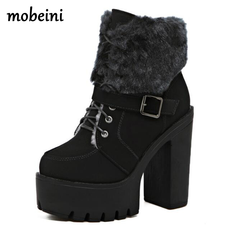 high boots for women winter shoes punk boots platform shoes woman high heels fur boots lace up shoes women ankle boots D1323 2016 new winter ankle high heels nubuck leather women boots with fur fashion platform lace up martin boots for shoes woman