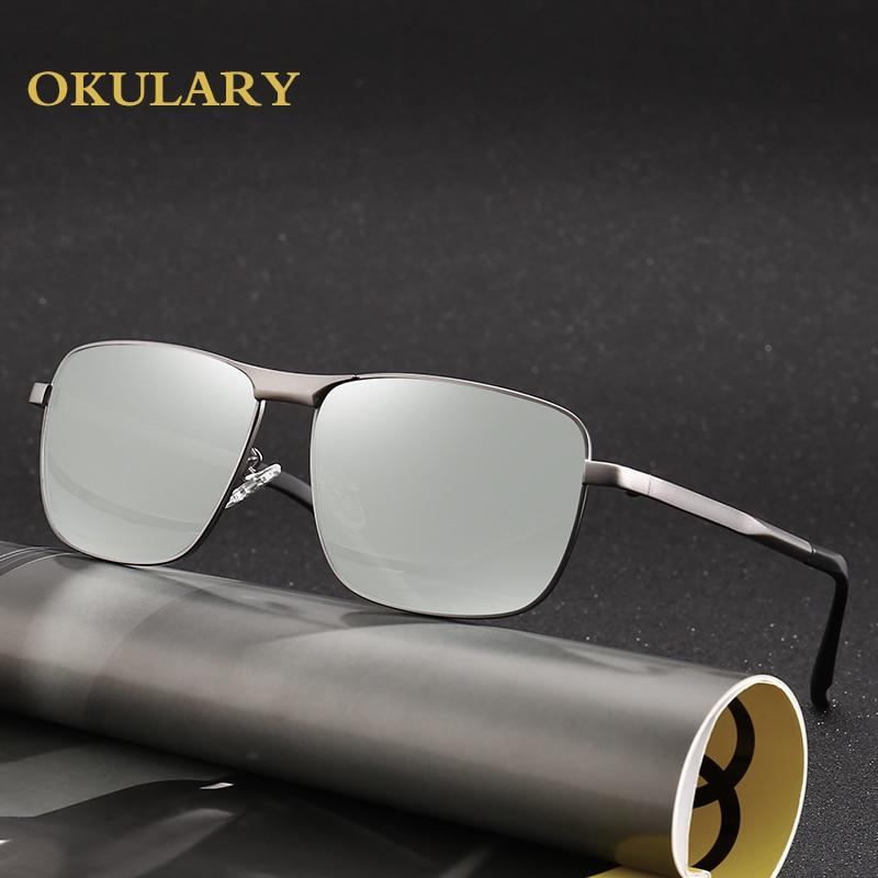 2018 New Square Men Polarized Sunglasses Black/Brown Metal Frame Sunglasses With Box,Case Free Shipping stylish black metal square frame sunglasses